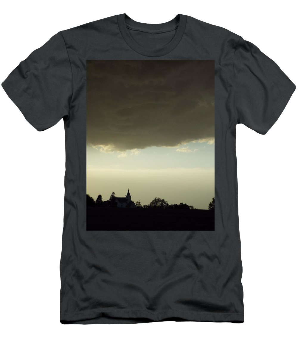 Thunder Storm Men's T-Shirt (Athletic Fit) featuring the photograph Church Of Thunder by Caryl J Bohn