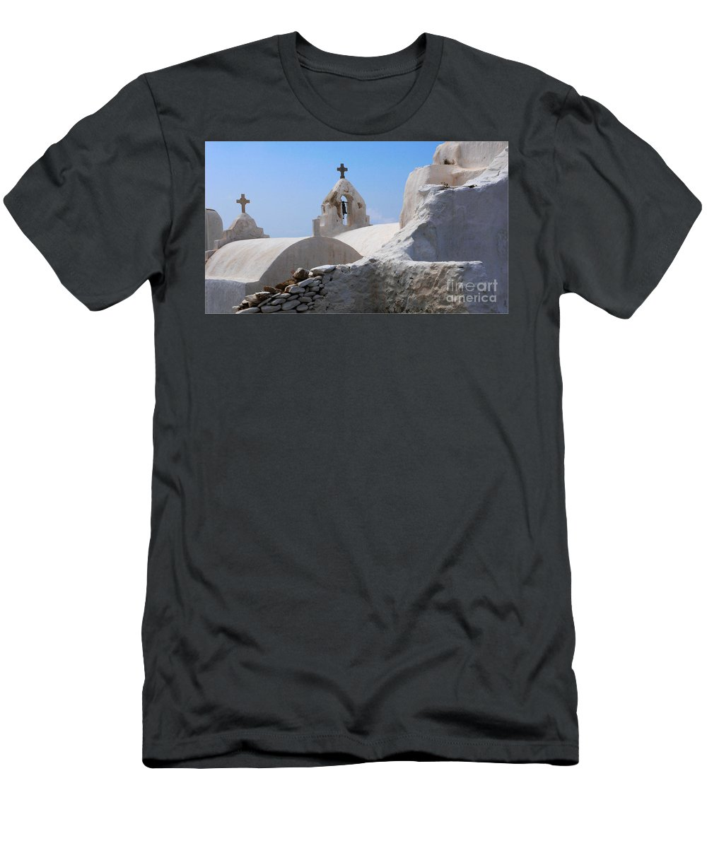 Greece Men's T-Shirt (Athletic Fit) featuring the photograph Church On Mykonos by Bob Christopher