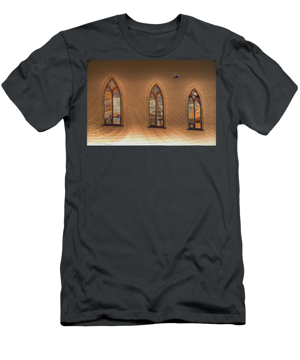 Church Men's T-Shirt (Athletic Fit) featuring the photograph Church Windows by Phyllis Meinke