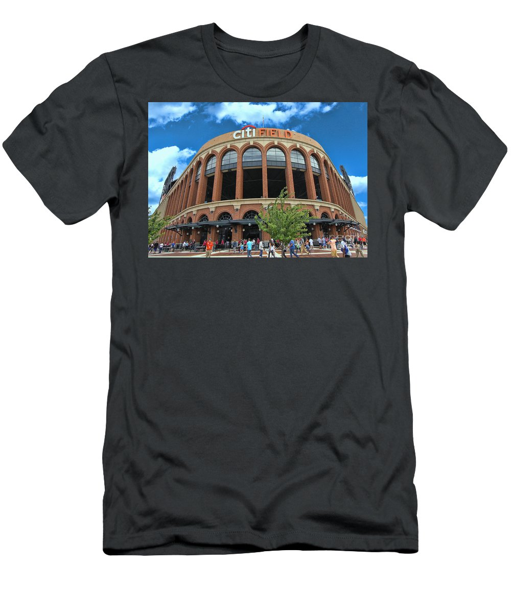 Citifield Men's T-Shirt (Athletic Fit) featuring the photograph Citi Field Entrance Rotunda by Allen Beatty