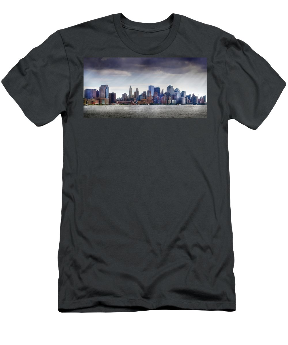 New York Men's T-Shirt (Athletic Fit) featuring the photograph City - Hoboken Nj - New York City - Pano by Mike Savad