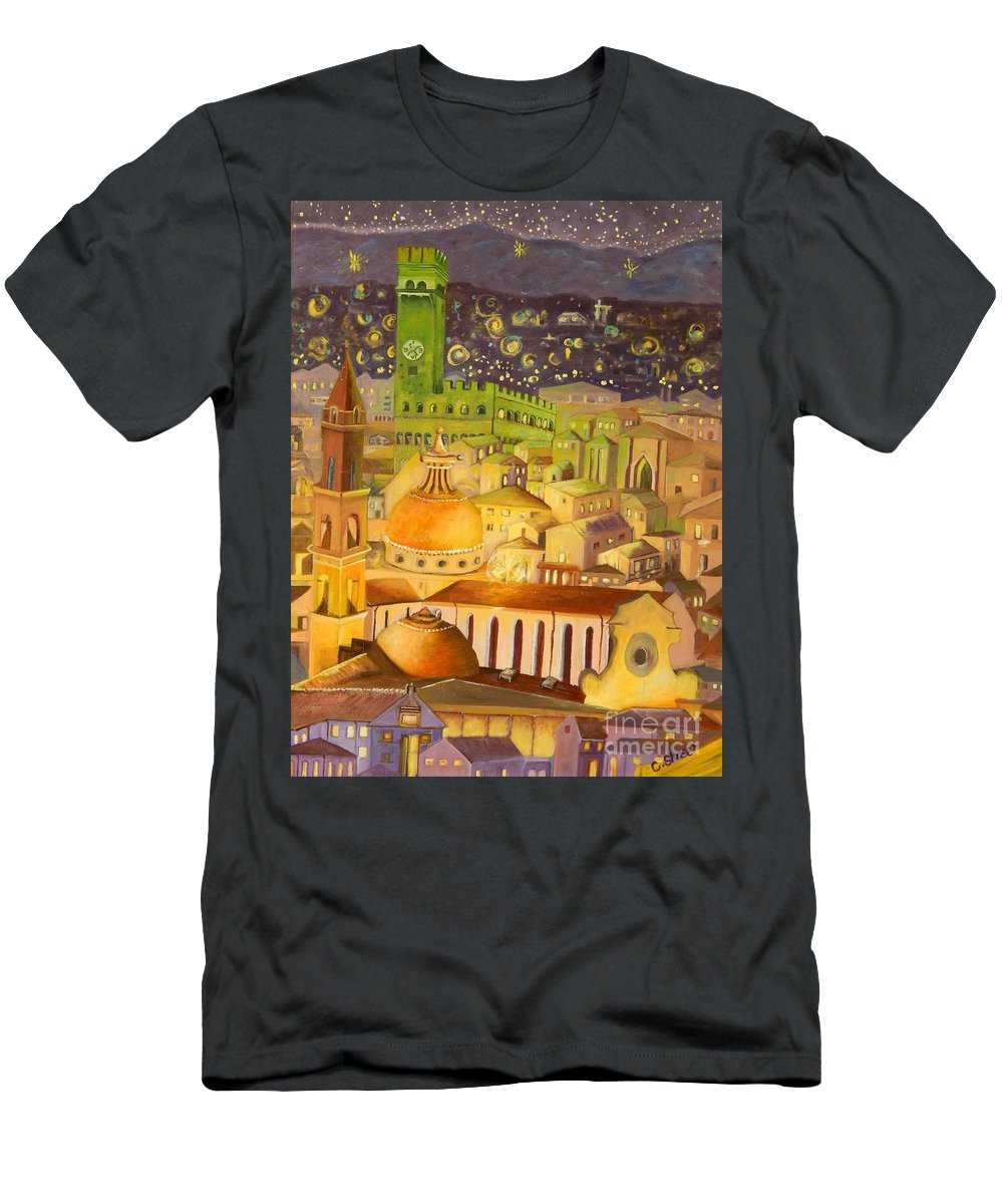 Venice Men's T-Shirt (Athletic Fit) featuring the painting City Light Star Light by Caroline Street