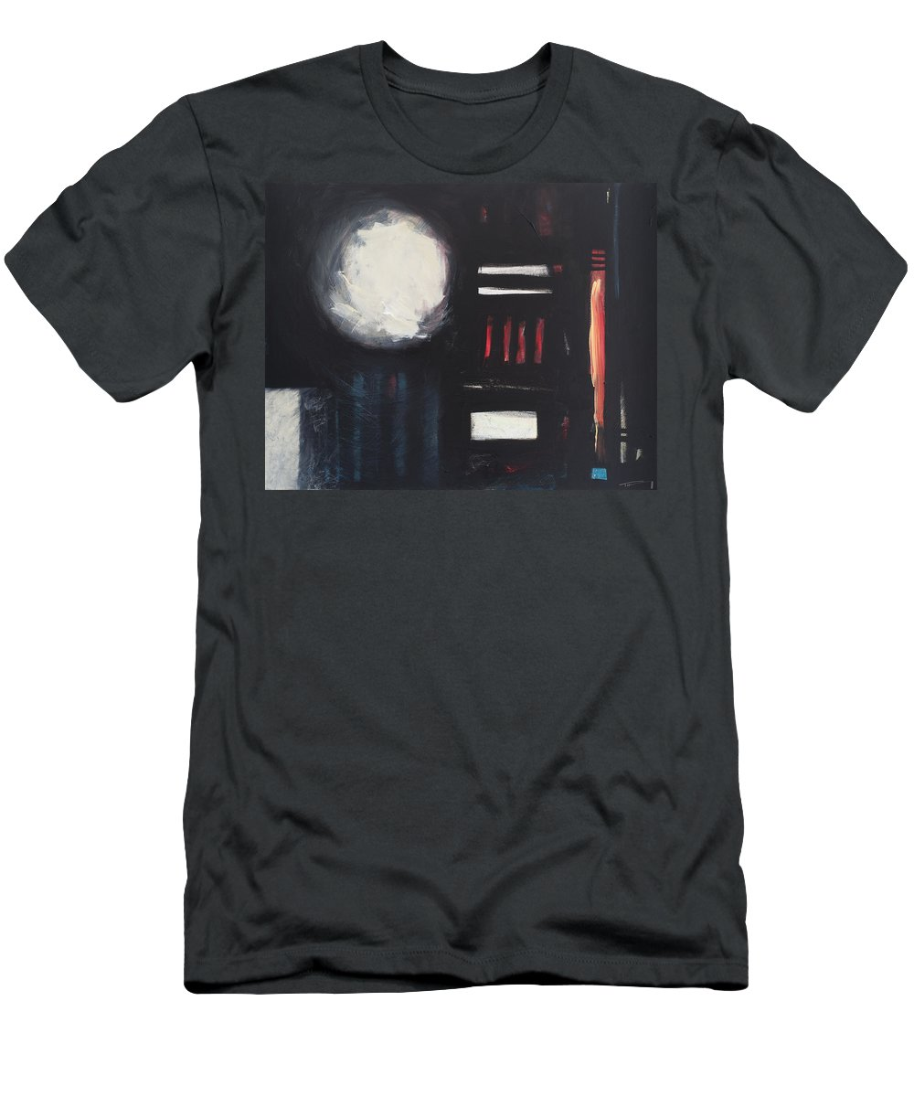 Abstract Men's T-Shirt (Athletic Fit) featuring the painting City Lights After Rain by Tim Nyberg