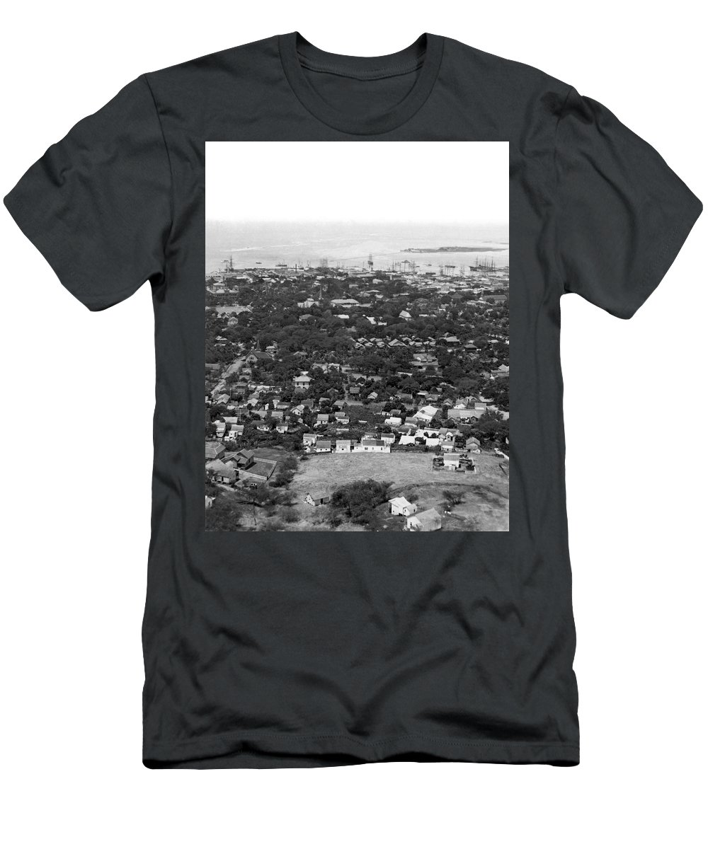 1890s Men's T-Shirt (Athletic Fit) featuring the photograph City Of Honolulu by Underwood & Underwood