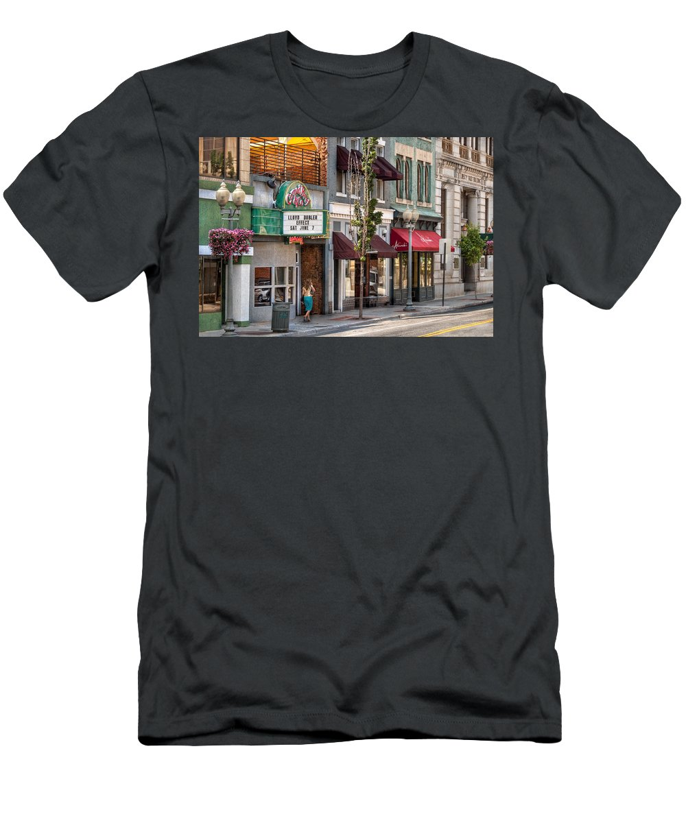 Savad Men's T-Shirt (Athletic Fit) featuring the photograph City - Roanoke Va - Down One Fine Street by Mike Savad
