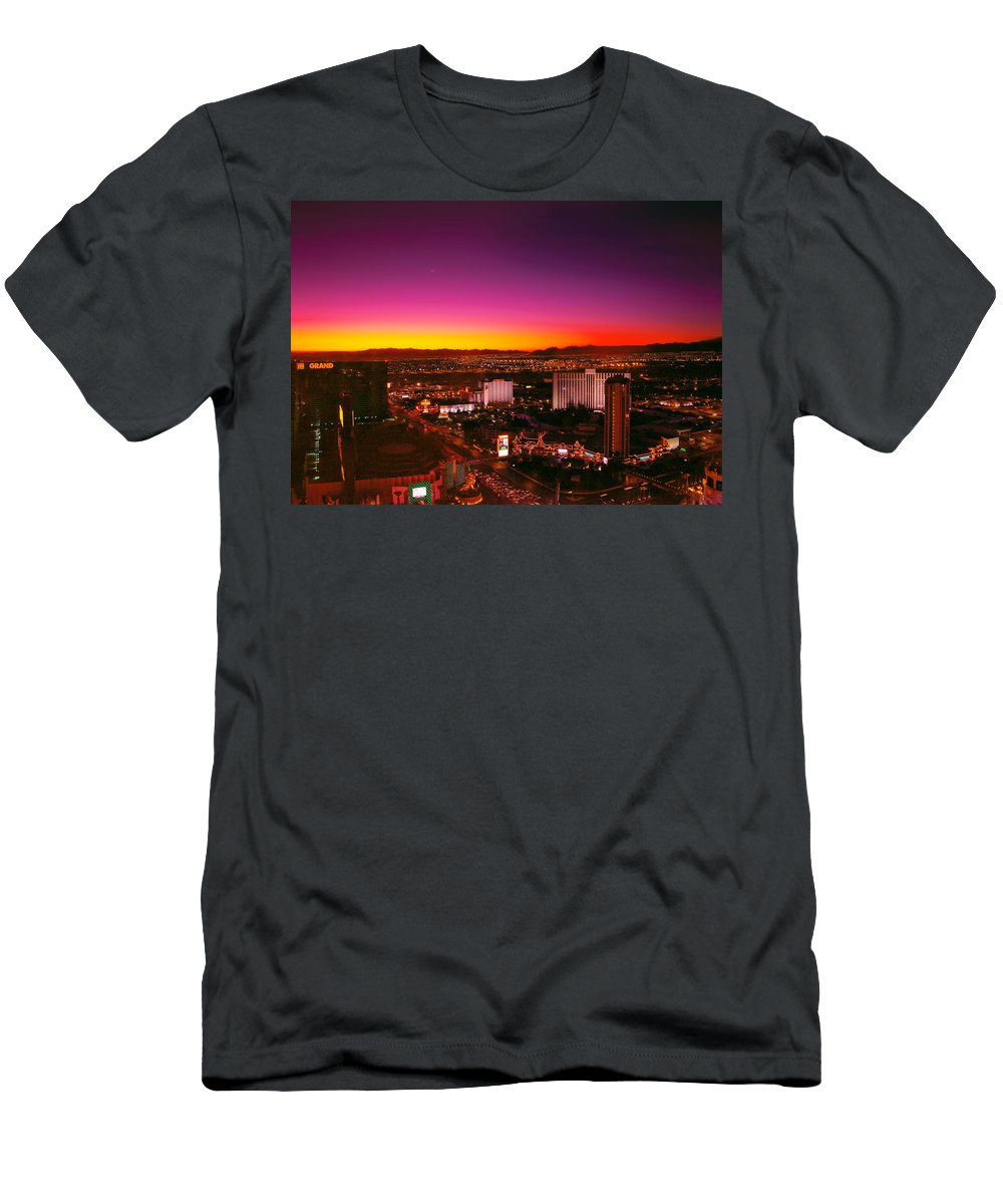 Savad Men's T-Shirt (Athletic Fit) featuring the photograph City - Vegas - Ny - Sunrise Over The City by Mike Savad