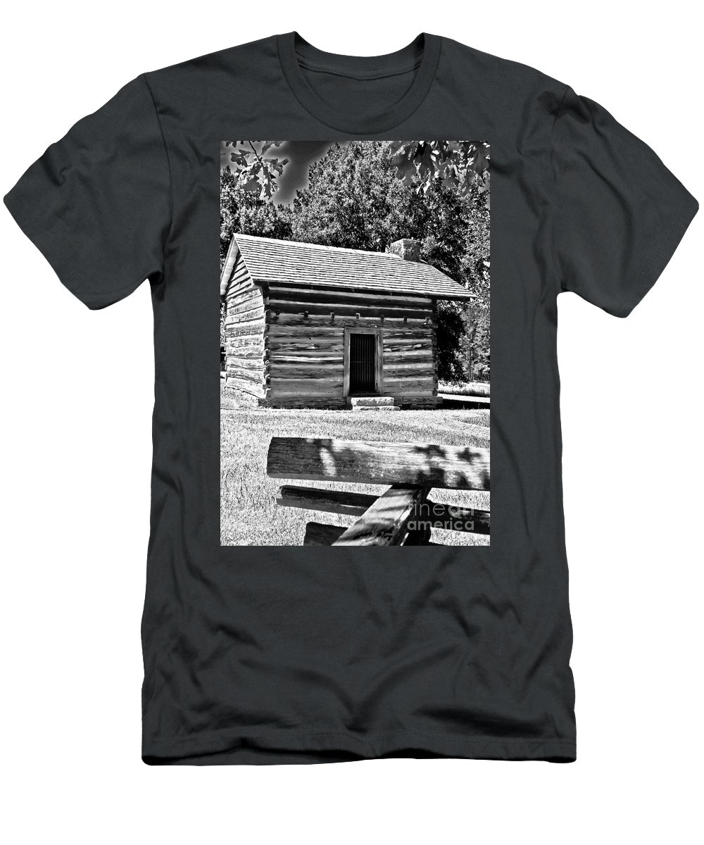 Travel Men's T-Shirt (Athletic Fit) featuring the photograph Civil War Cabin by Elvis Vaughn