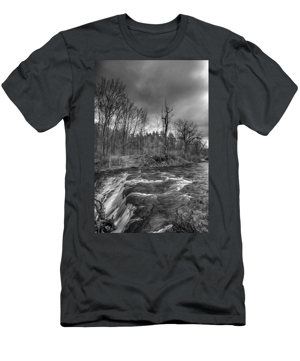 Clarksburg Men's T-Shirt (Athletic Fit) featuring the photograph Clarksburg Falls 1833 by Guy Whiteley