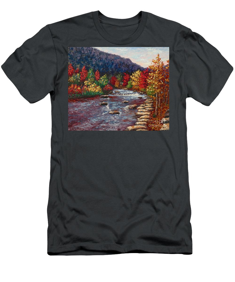 Landscape Men's T-Shirt (Athletic Fit) featuring the painting Clear Creek In Golden Colorado by Francesca Kee