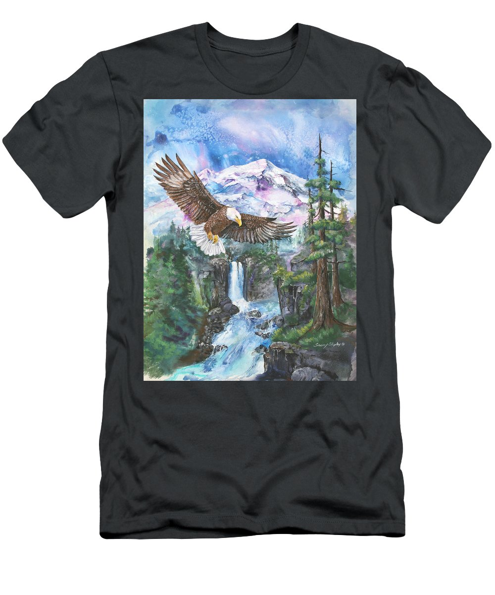 Eagle Men's T-Shirt (Athletic Fit) featuring the painting Cleared For Landing Mount Baker by Sherry Shipley