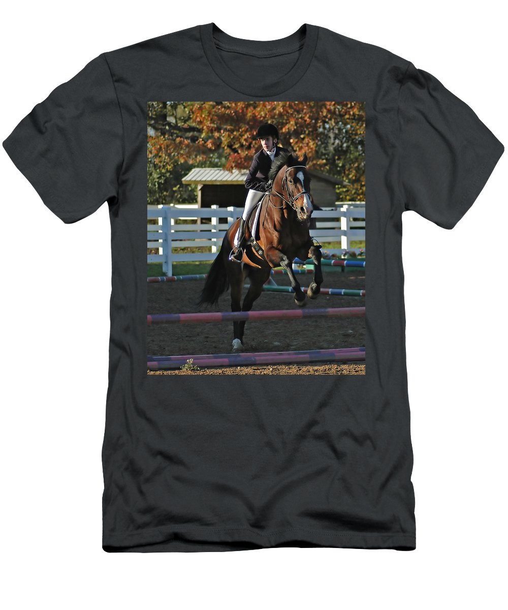 Horse Men's T-Shirt (Athletic Fit) featuring the photograph Clearing The Rail by Gene Tatroe