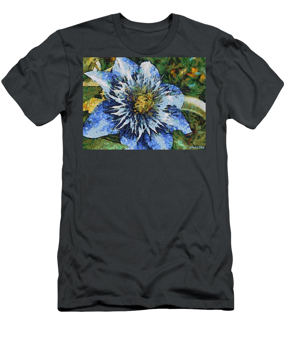 Bloom Men's T-Shirt (Athletic Fit) featuring the painting Clematis by Jeffrey Kolker