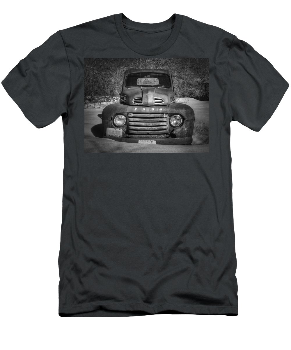 Ford Truck Men's T-Shirt (Athletic Fit) featuring the photograph Close Up Of The Old Timer by Thomas Young