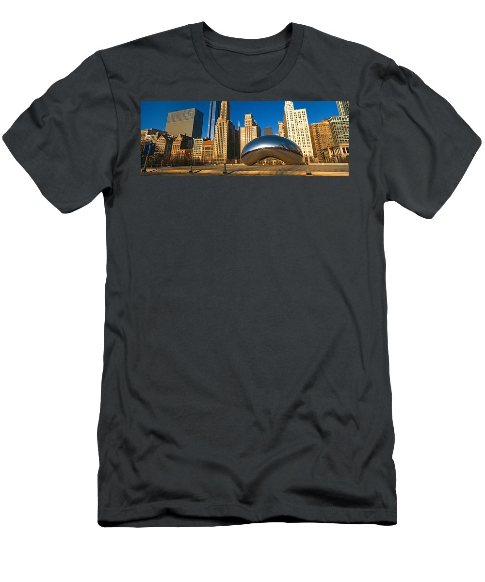 Photography Men's T-Shirt (Athletic Fit) featuring the photograph Cloud Gate Sculpture With Buildings by Panoramic Images