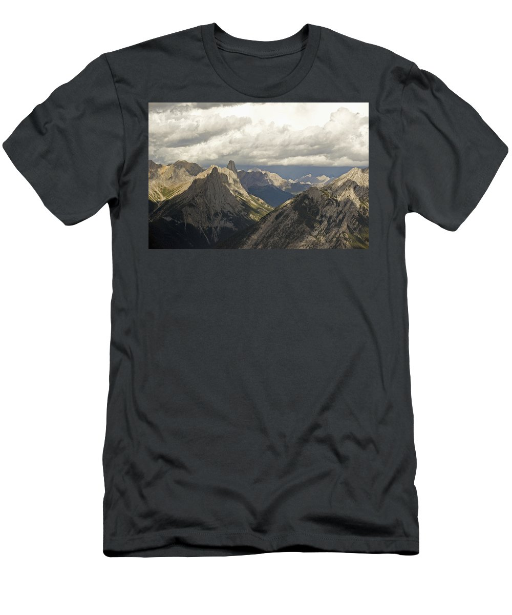 Storm Men's T-Shirt (Athletic Fit) featuring the photograph Cloud Over Rugged Mountain Peaks Banff by Jim Julien
