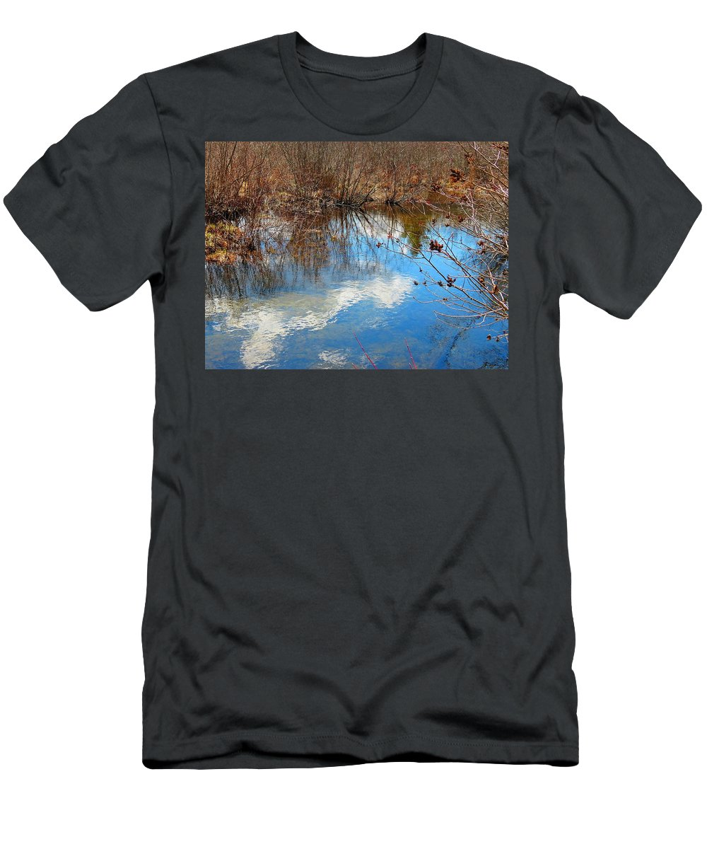 Mirey Brook Men's T-Shirt (Athletic Fit) featuring the photograph Clouds On Water by MTBobbins Photography