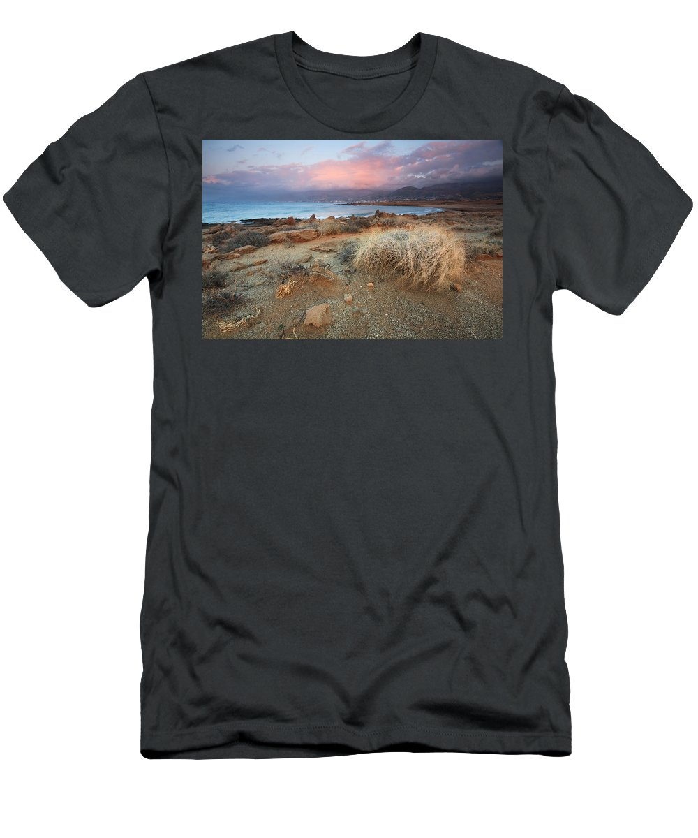 Greece Men's T-Shirt (Athletic Fit) featuring the photograph coast of Crete 'I by Milan Gonda