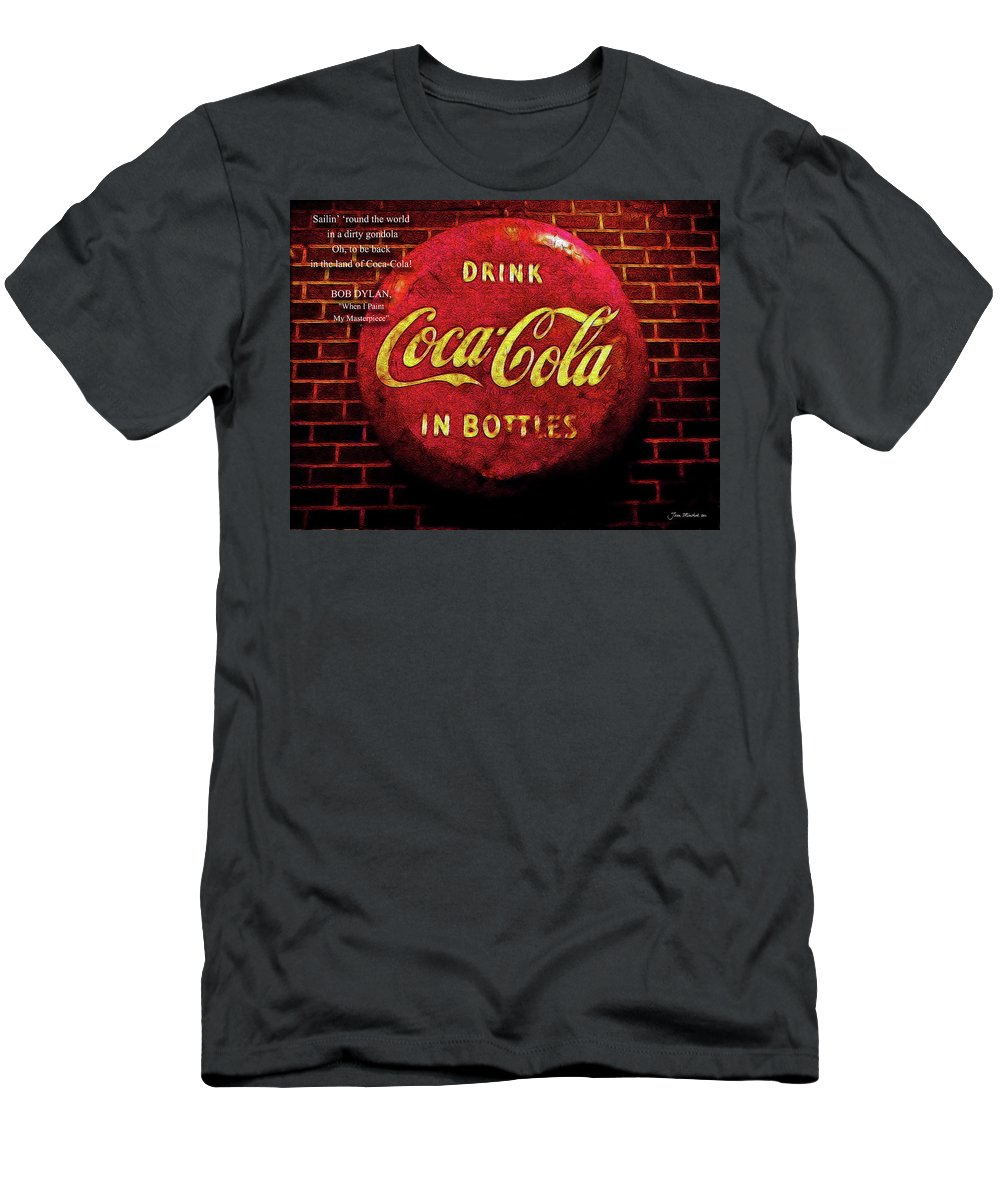 Bob Men's T-Shirt (Athletic Fit) featuring the digital art Coca Cola Dylan Quote by Joan Minchak