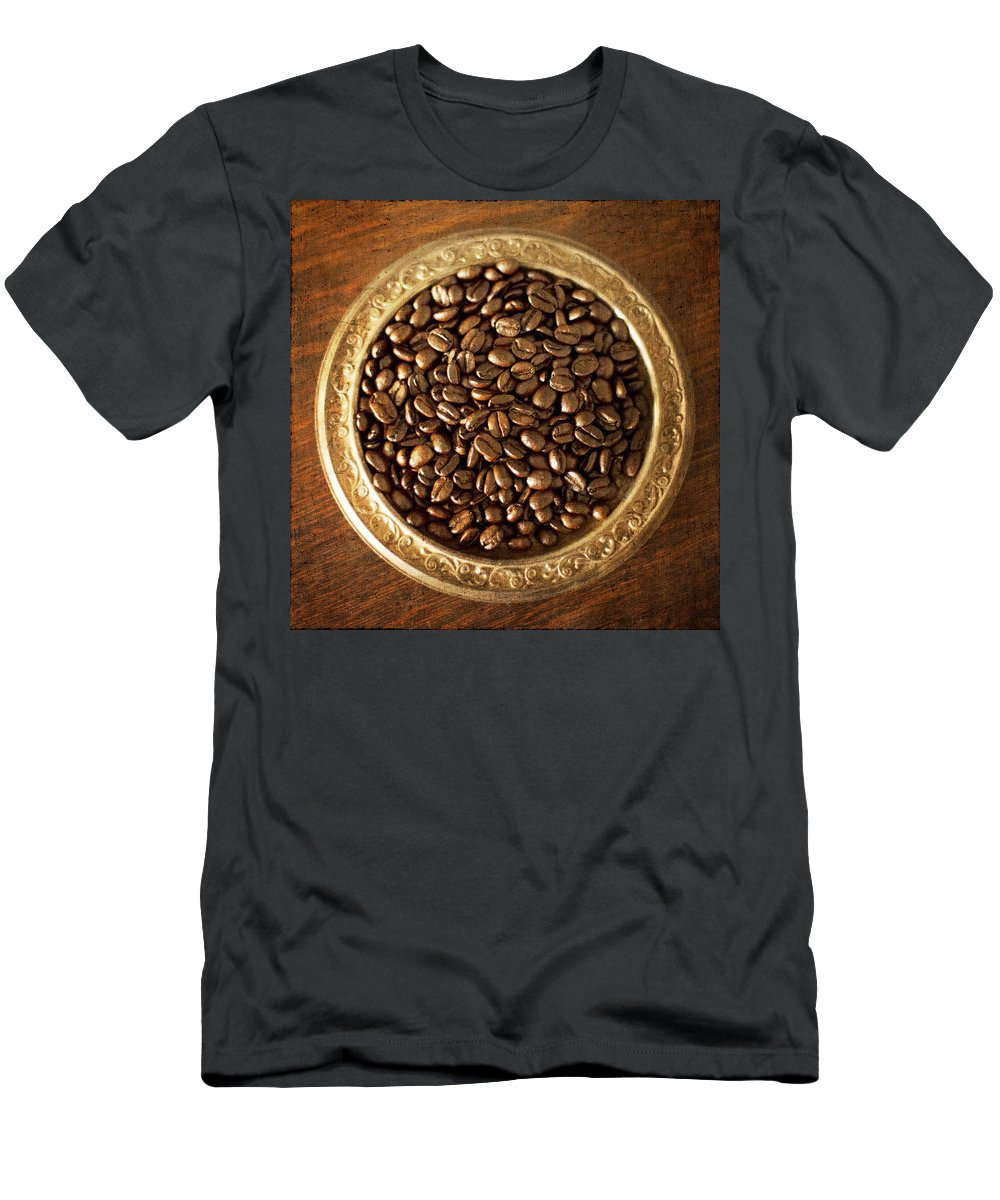 Coffee Men's T-Shirt (Athletic Fit) featuring the photograph Coffee Beans On Antique Silver Platter by Renee Hong