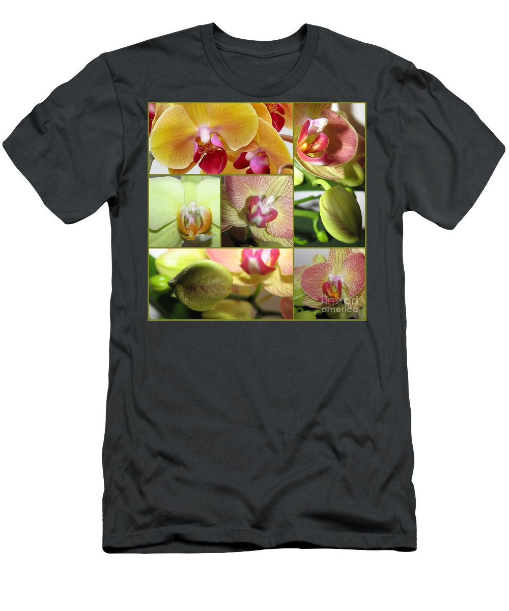 Collage Men's T-Shirt (Athletic Fit) featuring the photograph Collage Orchids 01yellow Green - Elena Yakubovich by Elena Yakubovich