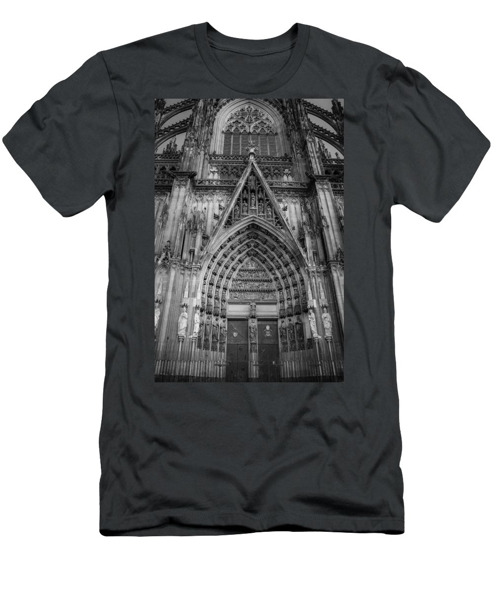 2014 Men's T-Shirt (Athletic Fit) featuring the photograph Cologne Cathedral 11 Bw by Teresa Mucha