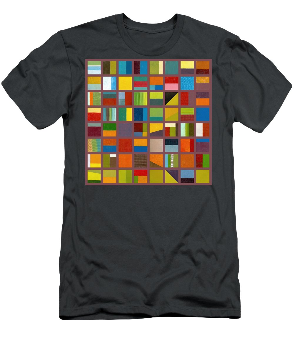 Abstract Men's T-Shirt (Athletic Fit) featuring the painting Color Study Collage 65 by Michelle Calkins