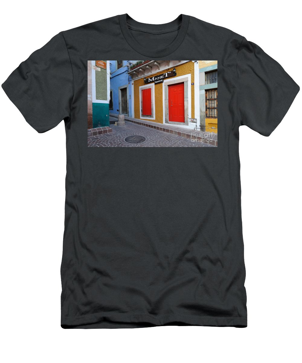 Travel Men's T-Shirt (Athletic Fit) featuring the photograph Colorful Doors Guanajuato Mexico by John Shaw