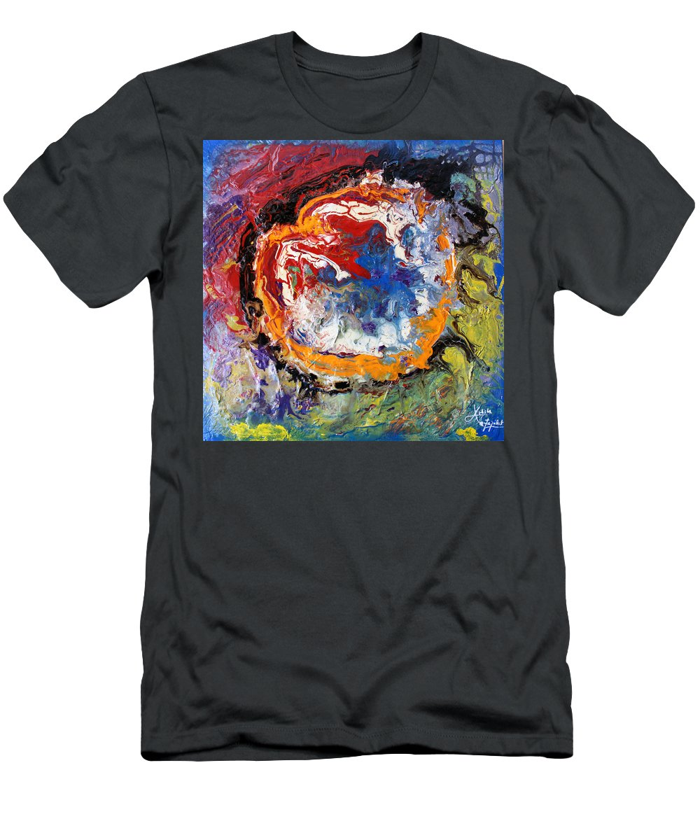 Colorful Men's T-Shirt (Athletic Fit) featuring the mixed media Colorful Happy by Artista Elisabet