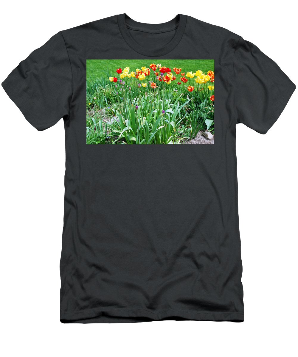 Tulip Men's T-Shirt (Athletic Fit) featuring the photograph Colorful Spring by Aimee L Maher ALM GALLERY