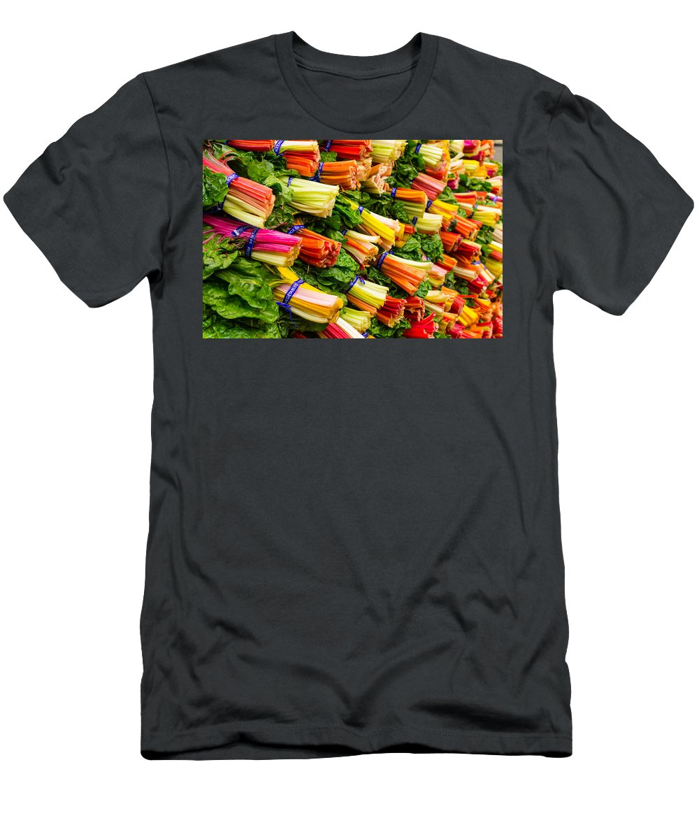 Agriculture Men's T-Shirt (Athletic Fit) featuring the photograph Colorful Swiss Chard by John Trax