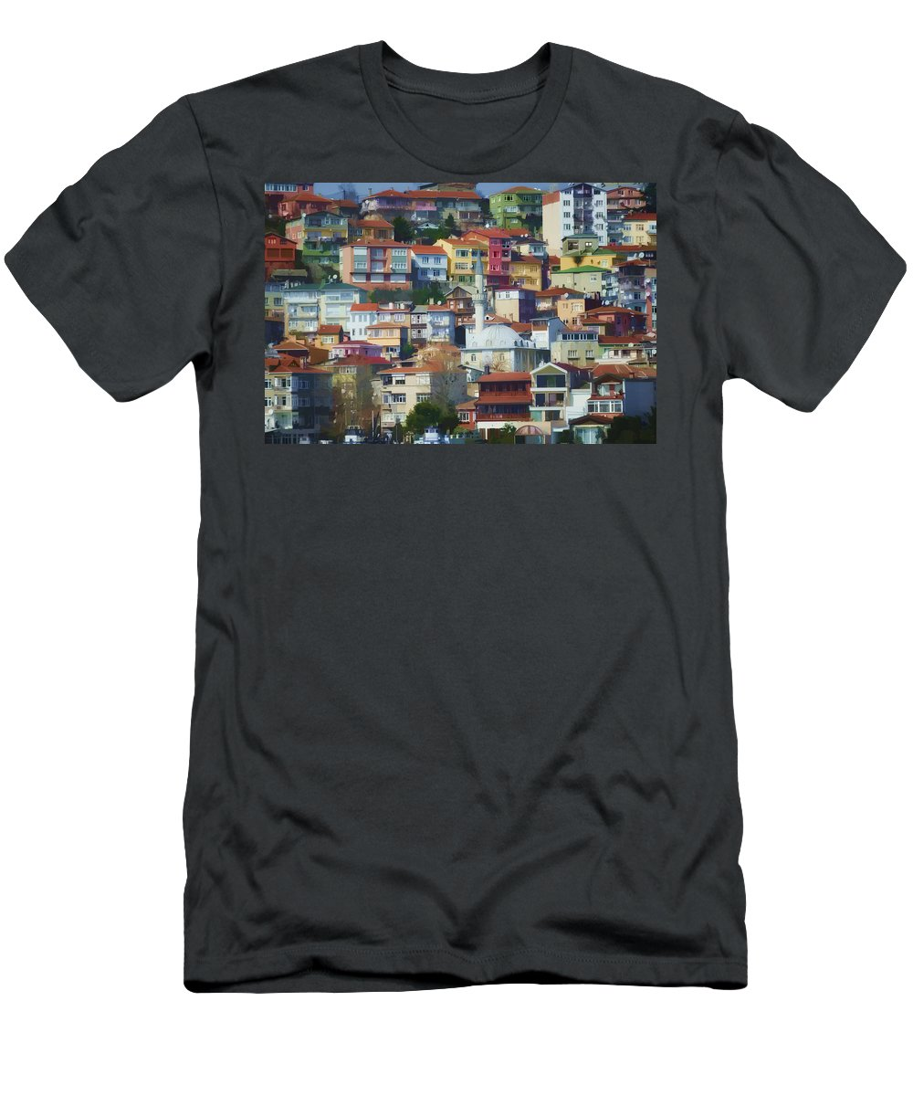 Architecture Men's T-Shirt (Athletic Fit) featuring the photograph Colorful Town by Joan Carroll