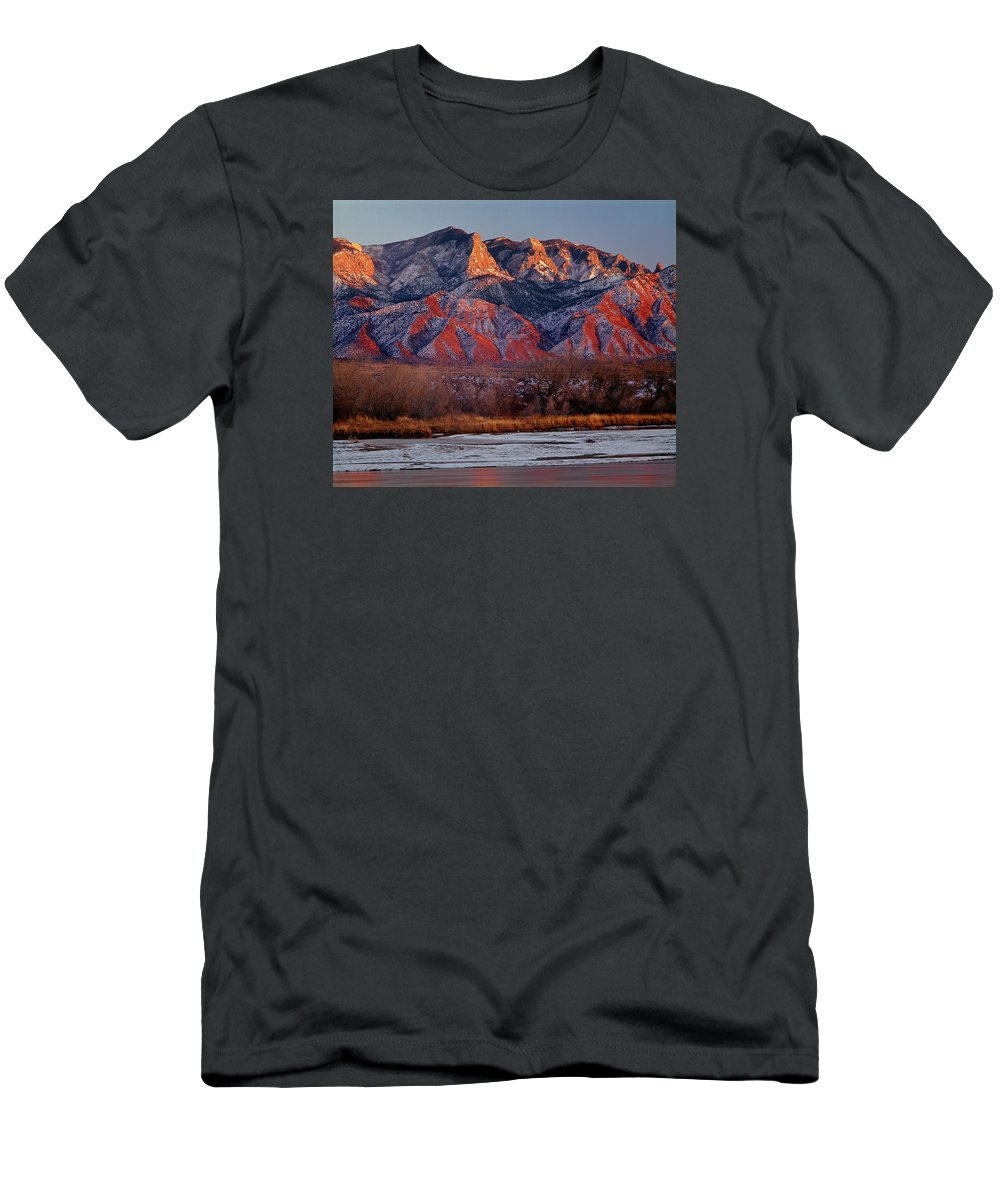 Sandia Crest Men's T-Shirt (Athletic Fit) featuring the photograph 214501-colors Of Sandia Crest by Ed Cooper Photography