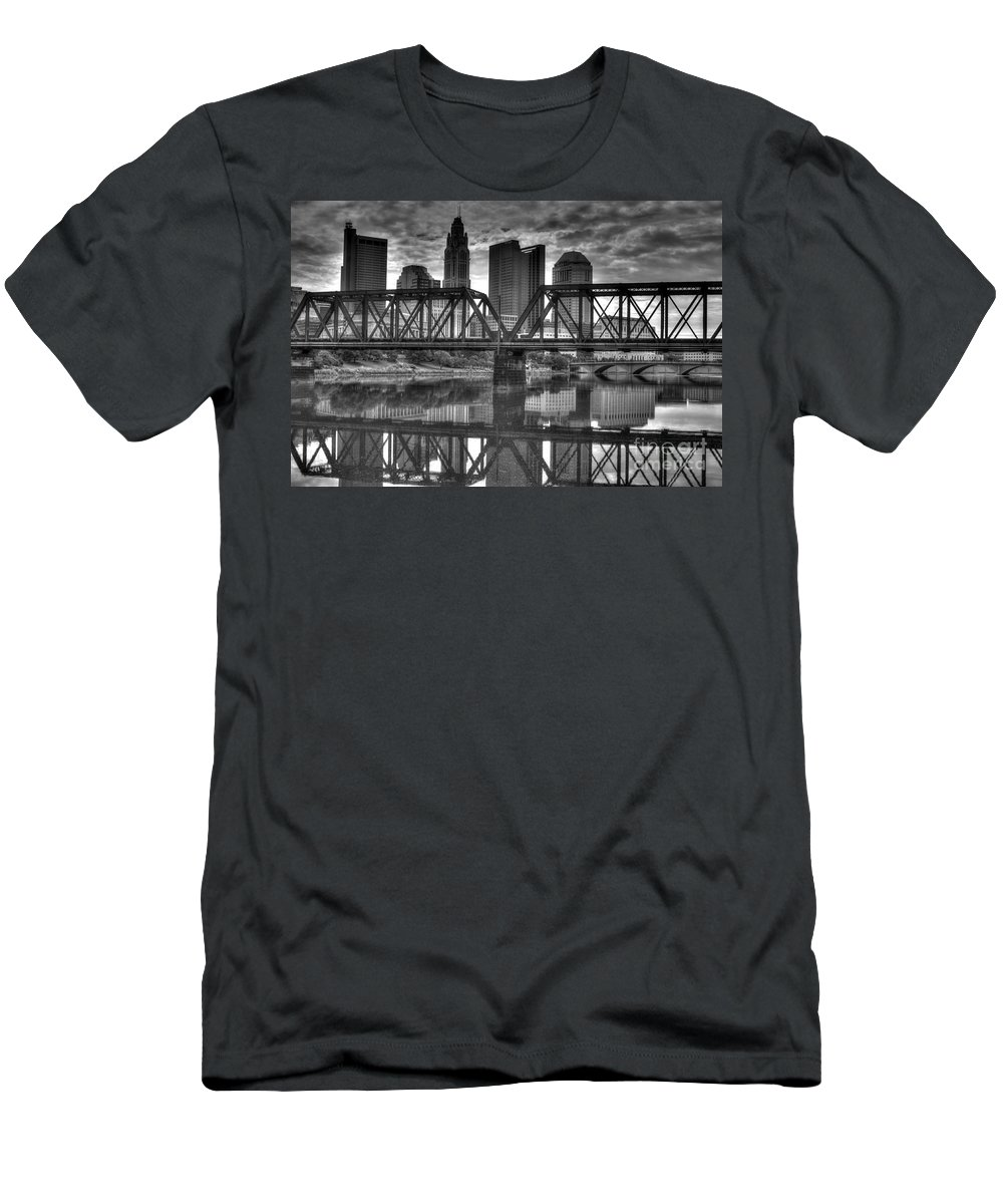 Columbus Men's T-Shirt (Athletic Fit) featuring the photograph Columbus Ohio Downtown Bw by J M Lister