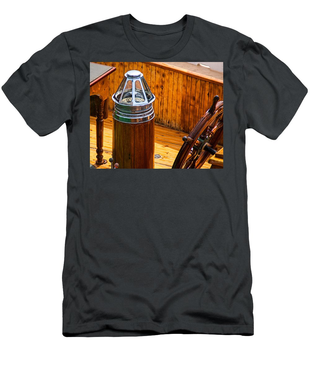 Adventure Men's T-Shirt (Athletic Fit) featuring the photograph Compass And Bright Work Old Sailboat by Bob Orsillo