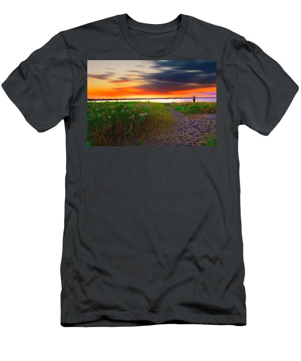 Rhodeisland Men's T-Shirt (Athletic Fit) featuring the photograph Conimicut Point Beach Rhode Island by Lourry Legarde