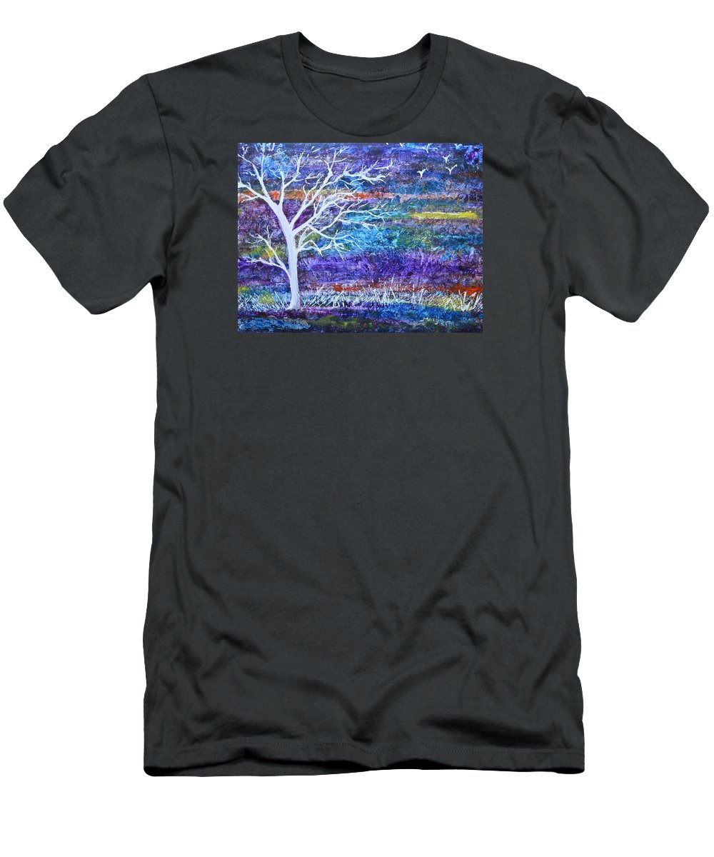 Abstractpainting T-Shirt featuring the painting Contemporary abstract tree landscape by Manjiri Kanvinde