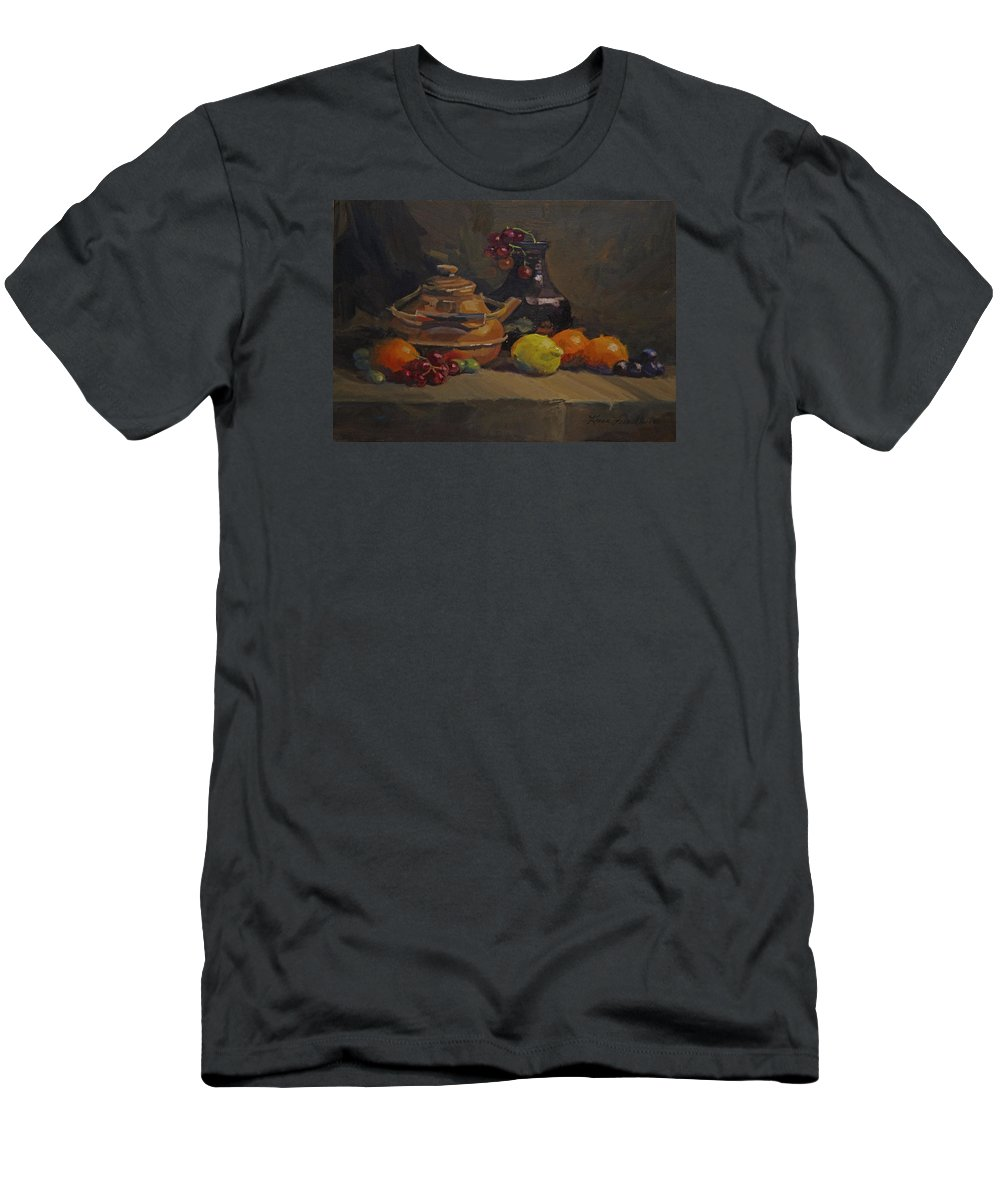 Oil Men's T-Shirt (Athletic Fit) featuring the painting Copper Tea Pot And Fruit by Karen Fess