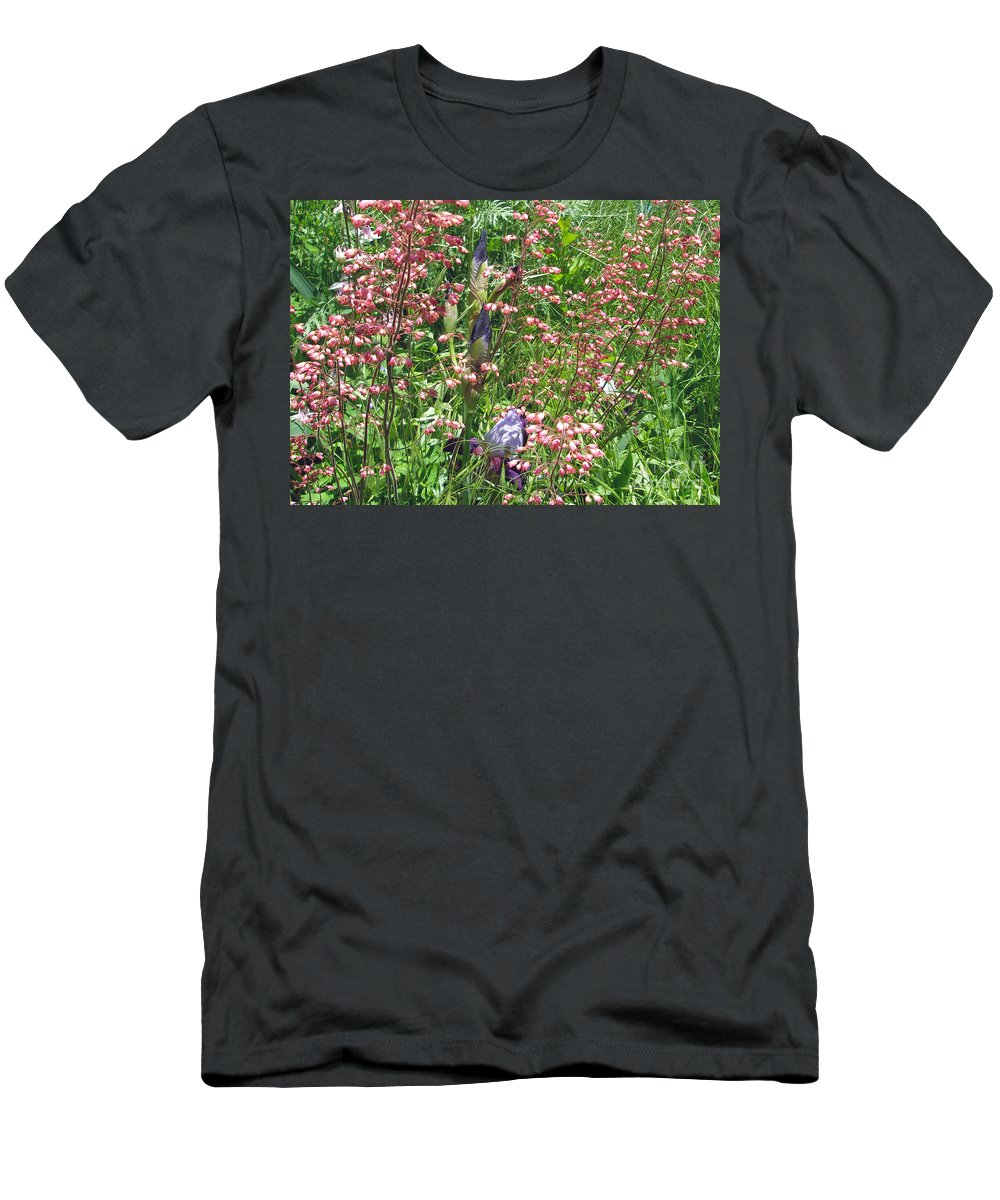 Irises Men's T-Shirt (Athletic Fit) featuring the photograph Coral Bells And Irises by Mother Nature