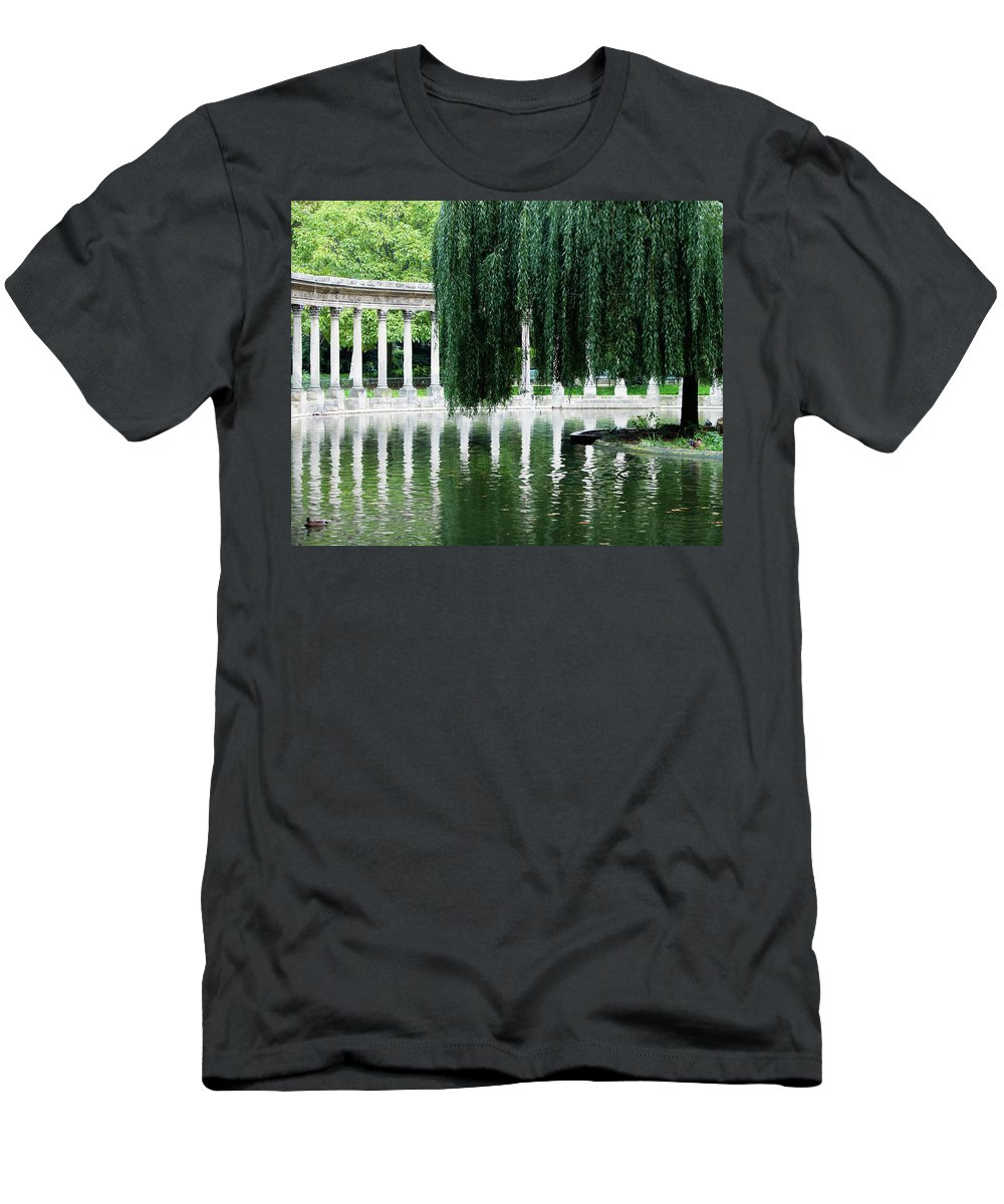 Animal Men's T-Shirt (Athletic Fit) featuring the photograph Corinthian Colonnade And Pond by Ron Koeberer
