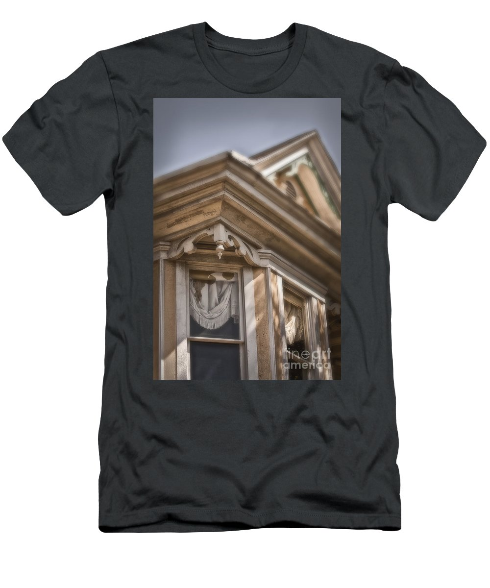 House; Home; Facade; Windows; Peak; Details; Gingerbread; Victorian; Ornate; Architecture; Building; Drapes; Curtains; Corner; Wood; Peeling; Painted; Fringe; Old; Upstairs Men's T-Shirt (Athletic Fit) featuring the photograph Corner Window by Margie Hurwich