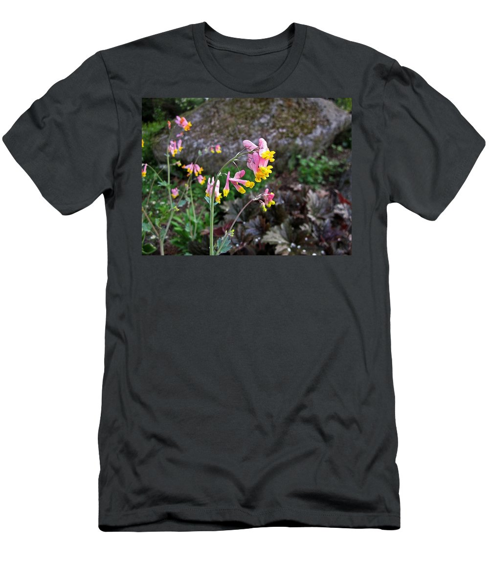 Corydalis Men's T-Shirt (Athletic Fit) featuring the photograph Corydalis In Garden by MTBobbins Photography