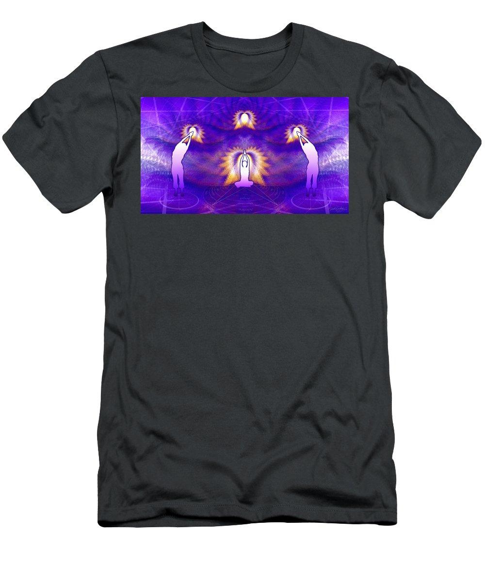 Cosmic Spiral Ascension Men's T-Shirt (Athletic Fit) featuring the digital art Cosmic Spiral Ascension 31 by Derek Gedney
