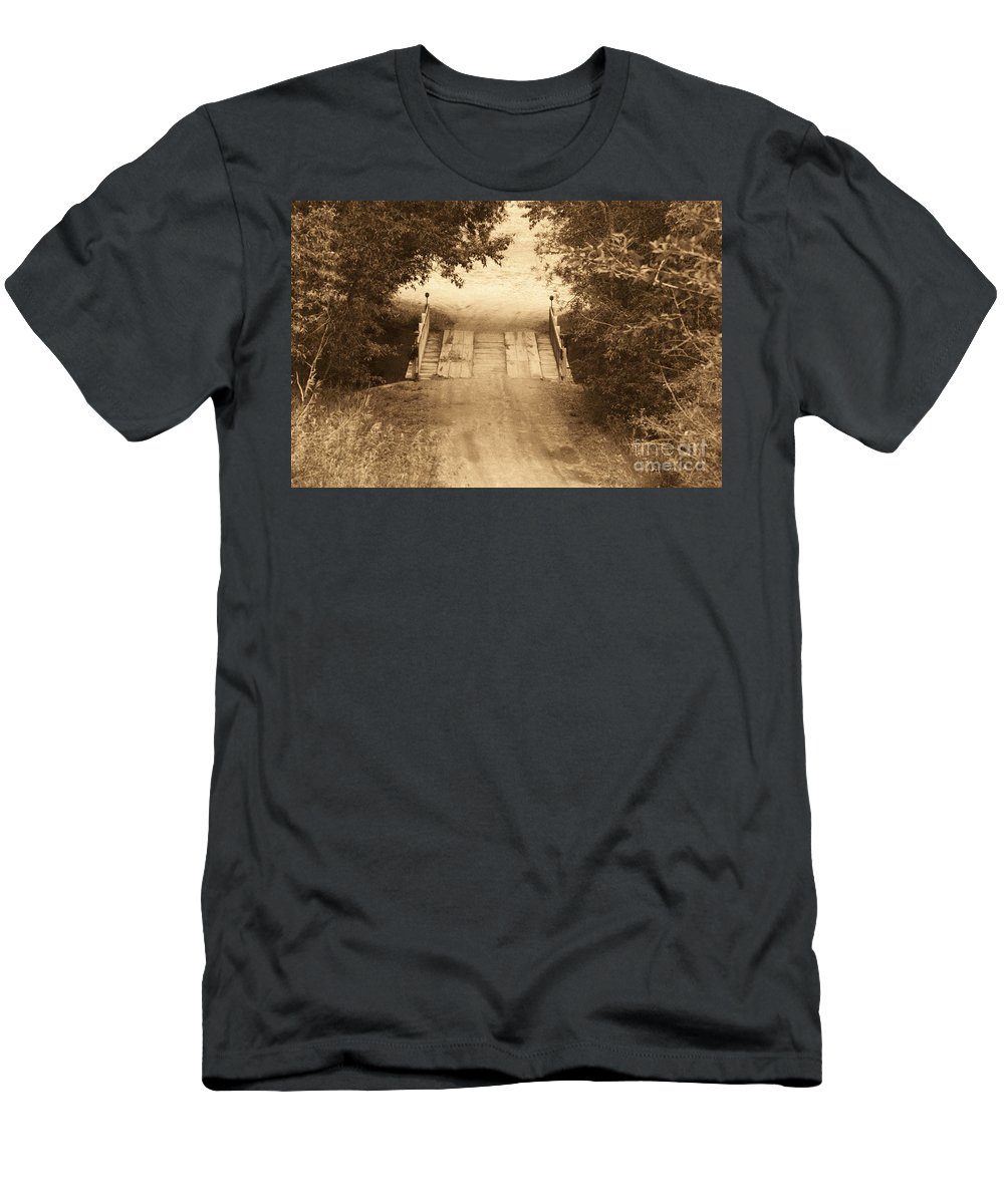 Bridge Men's T-Shirt (Athletic Fit) featuring the photograph Country Bridge by Brandi Maher