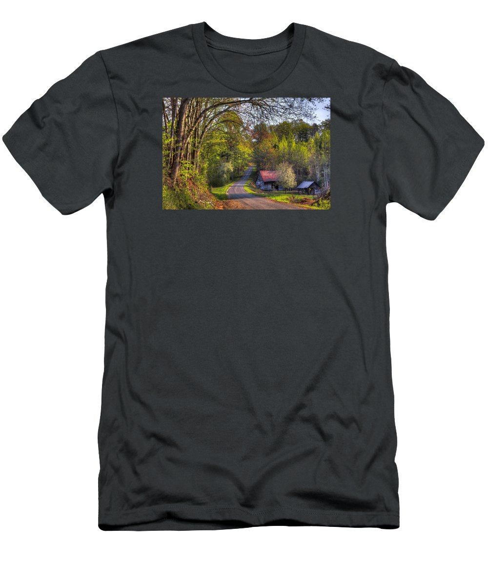 Appalachia Men's T-Shirt (Athletic Fit) featuring the photograph Country Lanes by Debra and Dave Vanderlaan