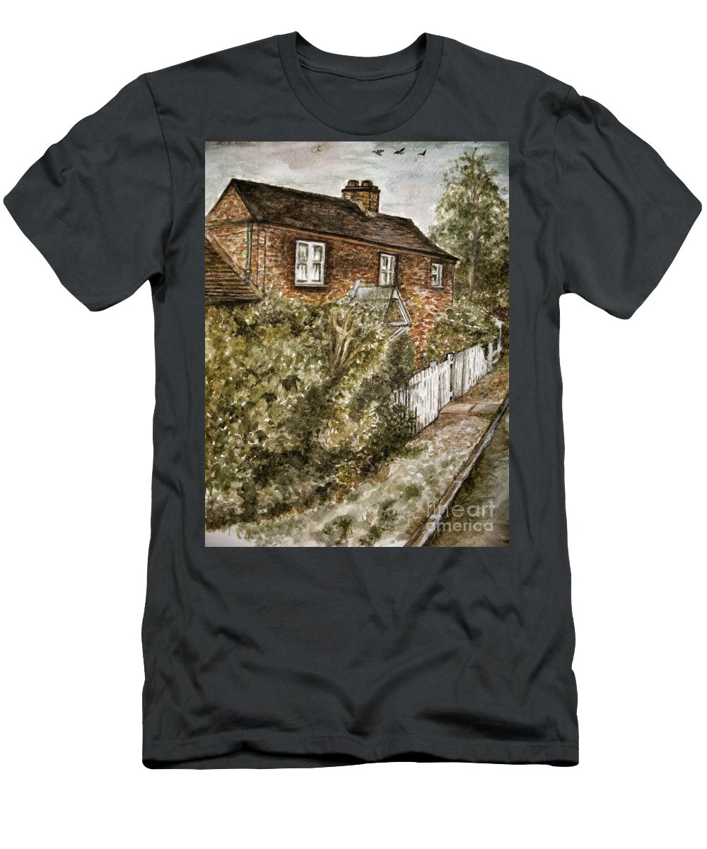 Teresa White Men's T-Shirt (Athletic Fit) featuring the painting Old English Cottage by Teresa White