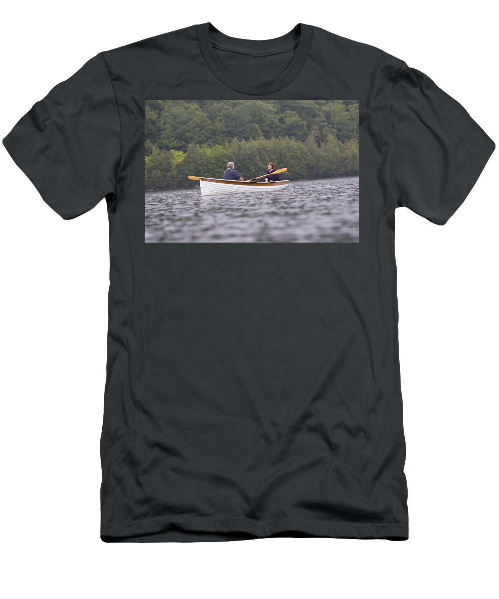 Boat Men's T-Shirt (Athletic Fit) featuring the photograph Couple Boating On Lake, Maine, Usa by David McLain