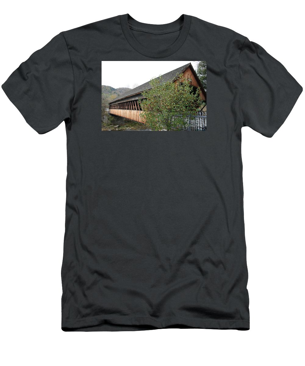 Covered Bridge Men's T-Shirt (Athletic Fit) featuring the photograph Covered Bridge - Woodstock - Vermont by Christiane Schulze Art And Photography