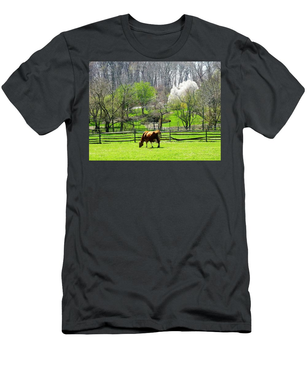Cow Men's T-Shirt (Athletic Fit) featuring the photograph Cow Grazing In Pasture In Spring by Susan Savad