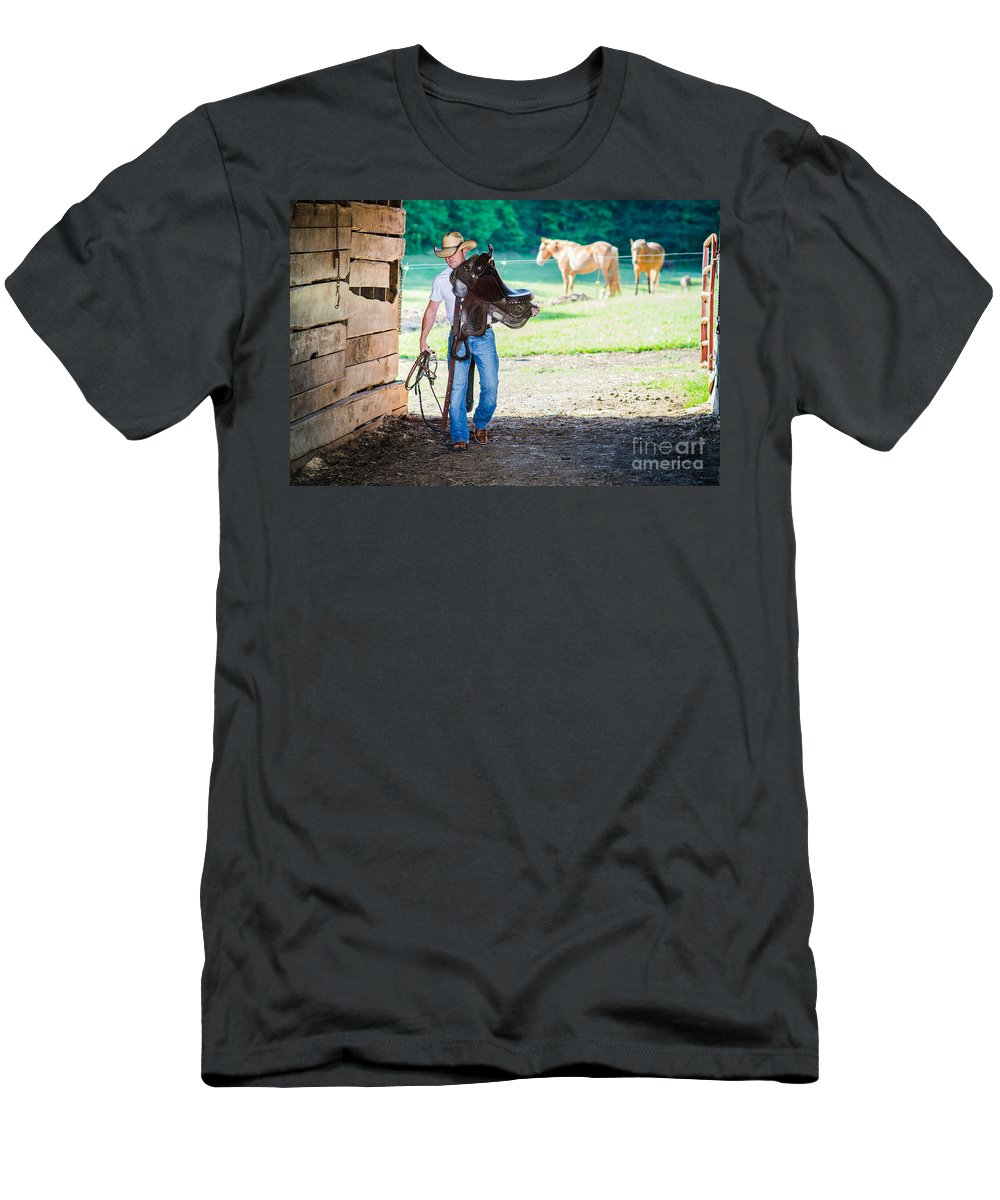 Cowboy Men's T-Shirt (Athletic Fit) featuring the photograph Cowboy 2 by Jh Photos