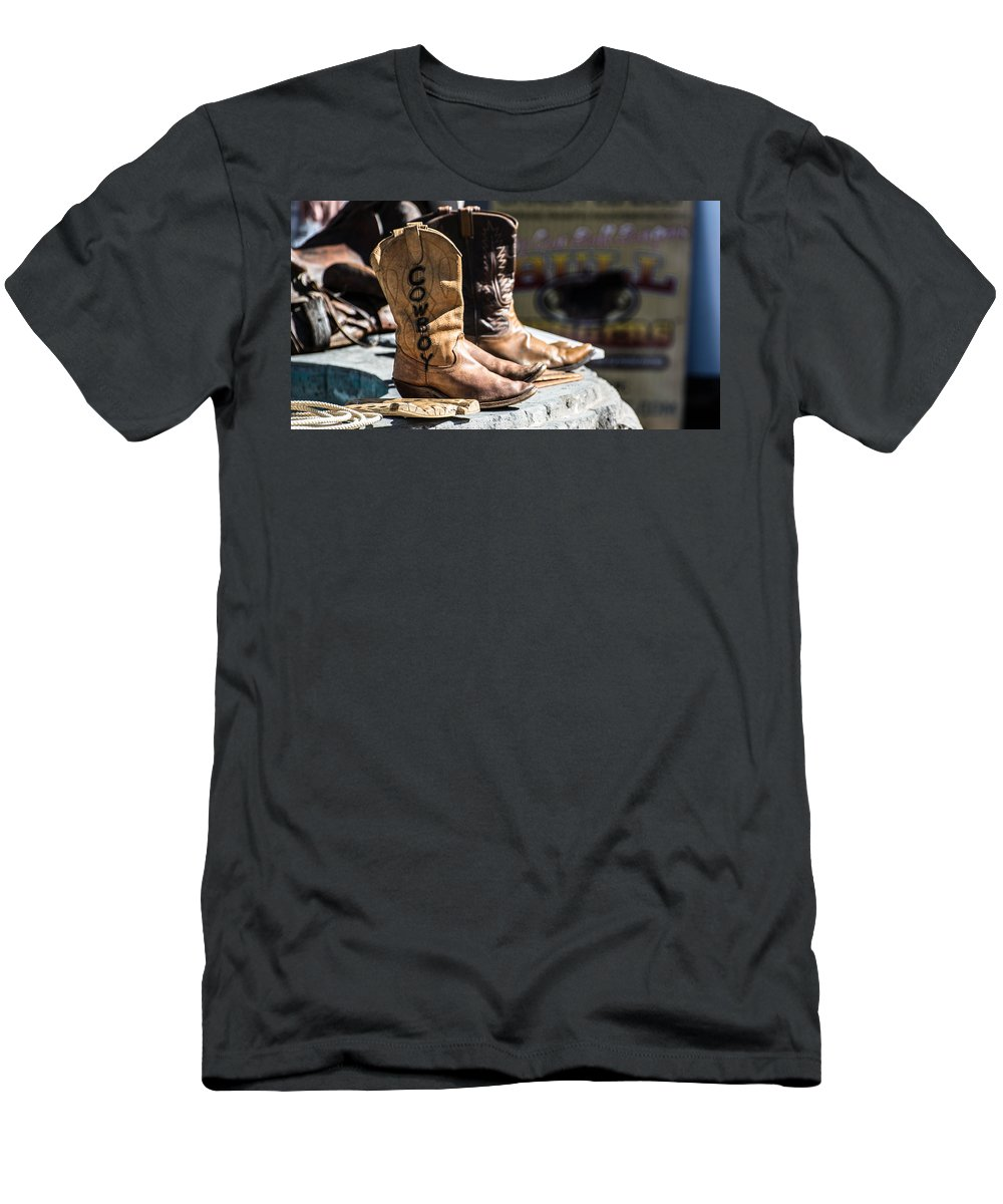 Cowboy Men's T-Shirt (Athletic Fit) featuring the photograph Cowboy Boots by Michael Moriarty